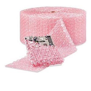 "Bubble Wrap 3 / 16"" 300' 2-Pack 24"" Wide Perferated 12"" Pink Anti-Static (1)"
