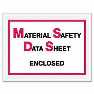"Envelopes ""Material Safety Data Sheet"" 7""x 5-1 / 2"" 1000ct"