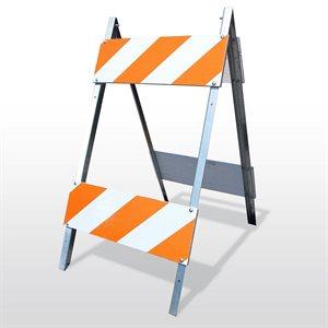 "Sawhorse Barricade 8""x 24"" Plywood 14ga Legs Type 2 EG Stripes (50) Min.(15)"