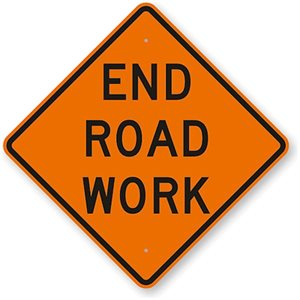 "Orange Bright 48""x 48"" End Road Work Roll Up Road Sign Fiberglass & Clamp (6)"