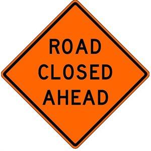 "Orange Bright 48""x 48"" Road Closed Ahead Roll Up Road Sign Fiberglass & Clamp (6)"