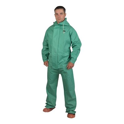 Rainwear Apex-FR 1PC Chemical / Acid Green 45mil PVC Limited Flame Resistant Large (10)