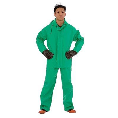 Rainwear Apex-FR 2PC Chemical / Acid Green 45mil PVC Limited Flame Resistant Large (10) Min.(1)