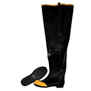 Boots Hip Waders Black Rubber, Steel Toe, Cotton Lined, 36 inch Length Size 13 (6) Min.(1)