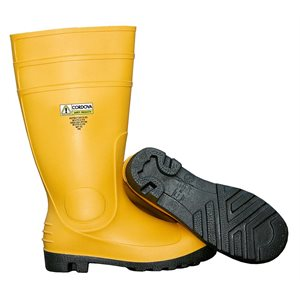 "Boots YellowPVC Steel Toe& Shank EVA Insole Unlined Slip-on 16"" Tall Size 13 (6) Min.(1)"