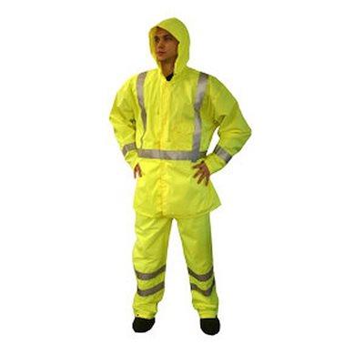 Rain Jacket Reptyle Class 3 Lime Nylon / Polyurethane HiVis Reflective Stripes Large (10) Min.(1)