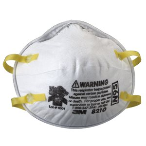 3M Dust Mask N95 20ct 3M 8210 Double Strap (8) Min. (1)