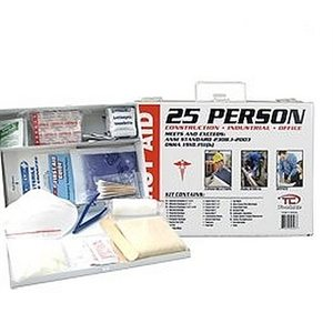 First Aid Kit 25 Person Metal Box 184pc Osha Certified