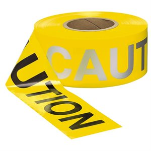 """3""""x 1000' 3mil Yellow Day / Nite """"Caution Caution"""" w / Refractive Ink Tape (16) Min.(8)"""